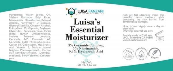 Luisa's essential moisturizer labe;